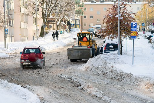 Plough, Street, Winter, Snow, Cold, Cars