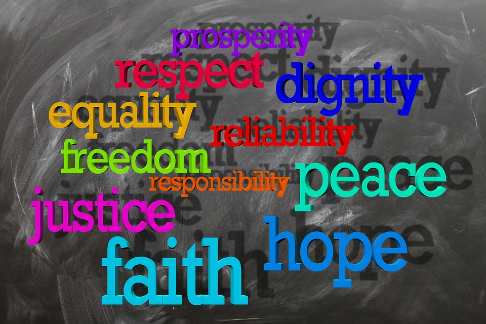 Board, Blackboard, Equality, Freedom, Harmony, Believe