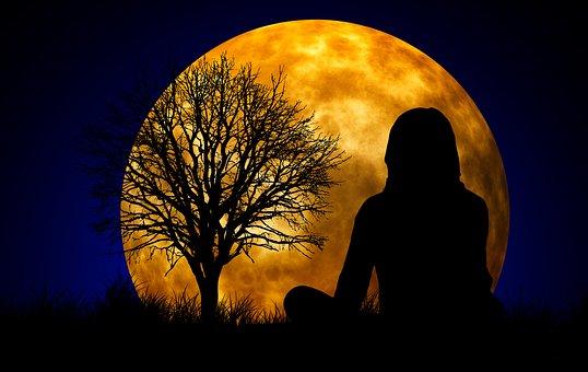 Mond, Frau, Silhouette, Meditation