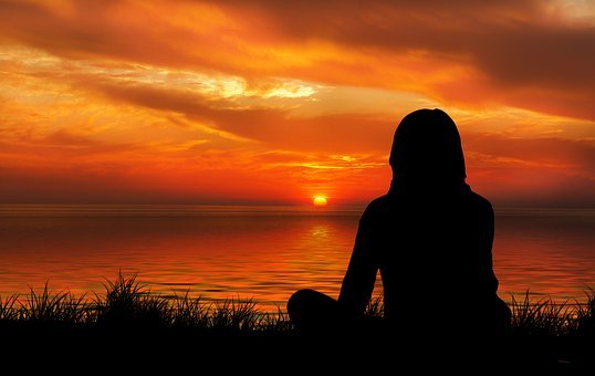 Sunset, Woman, Silhouette, Meditation