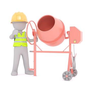 Aufbau, Betonmischer, Bau, Bauarbeit