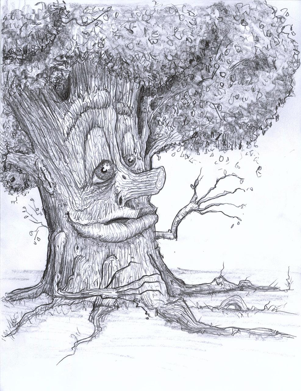 сказочное дерево рисунки карандашом капелле пели, как