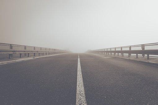 Fog, Road, Highway, Tar