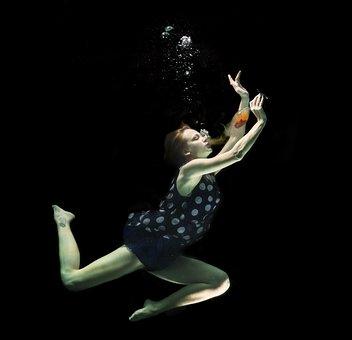 水中で, ファッション, 女, 増加した, 水, タンク, 美術, モデル