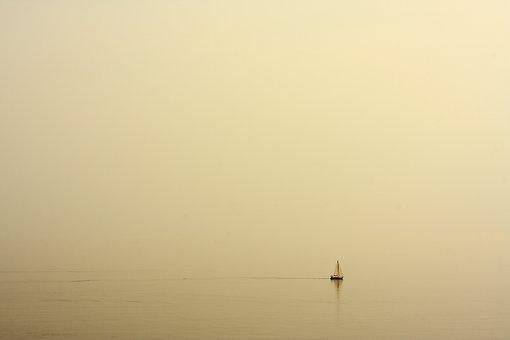 Boat, Haze, Ship, Alone, Marine, Water