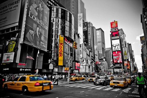 New York, Red, Yellow, Usa, City