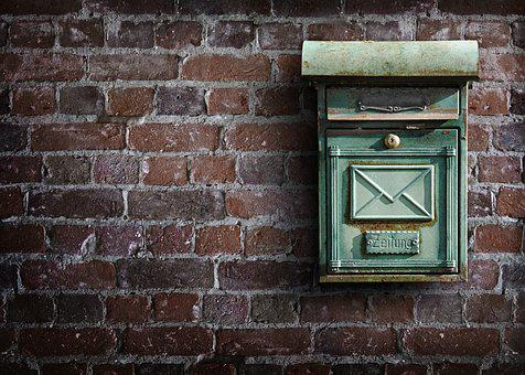 メールボックス, 壁, ポスト, レター ボックス, 石垣, 風化した