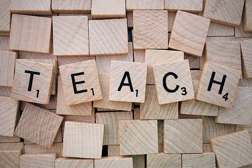 教える, ワード, スクラブル, 文字, 木造, 茶色の文字, 教える, 教える