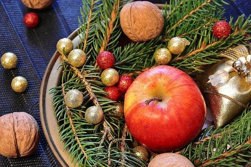 来临, 核桃, 坚果, 圣诞节, 圣诞主题, 海关, 壳, 分支机构, 冬青树