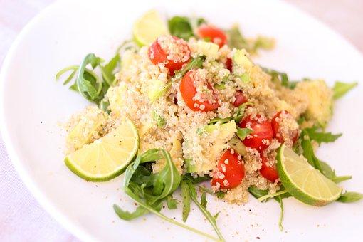 Quinoa, Salad, Tomatoes, Lime, Rocket