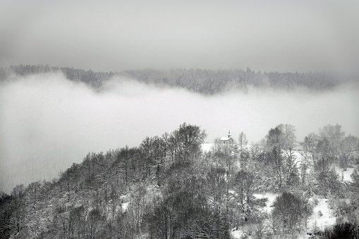 Mountain, Chapel, Mist, Snow, Winter