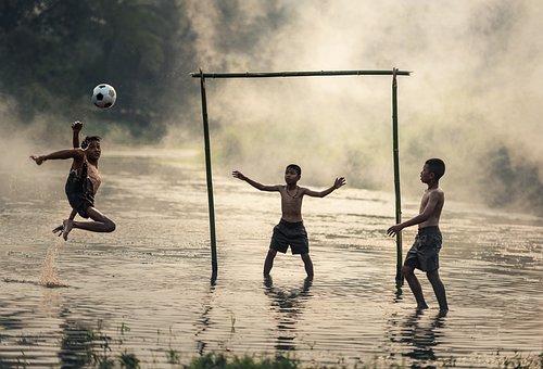 ジャンプ, ボール, 少年たち, ブラジル, カンボジア, ダスト, 運動