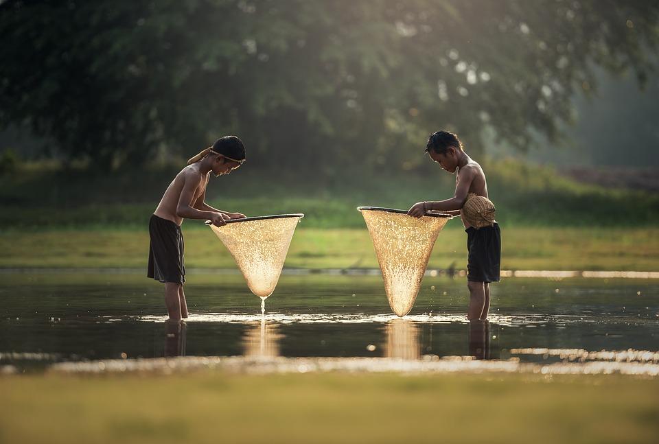 子供。, アクティビティ。, アジア, 男の子, カンボジア, グリップ。, かわいい, 漁師。
