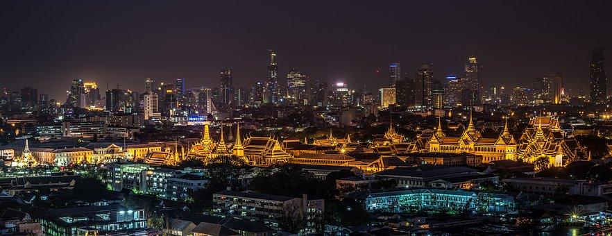 Большой Дворец, Бангкок, Храм, Ночь