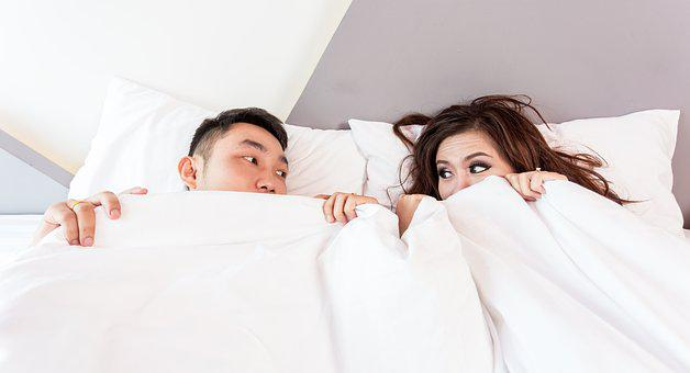 Bed, Sleeping, Couple, Covered, Cover, relationship