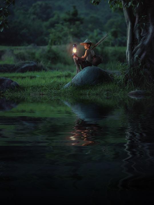 少年, ランプ, 泊, リバーサイド, 反射, 水, 子, 子ども, 穏やかな, 平和, 静けさ