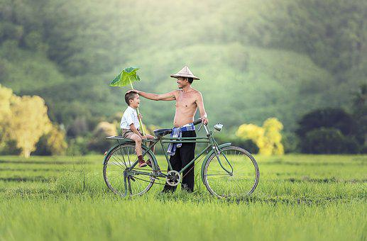 Father, Son, Bicycle, Relationship