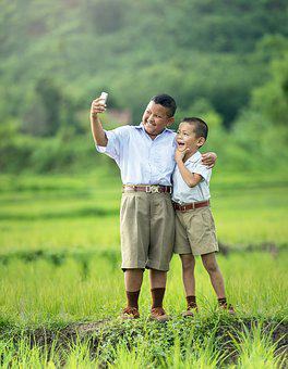 Selfie, Children, Phone, Asia