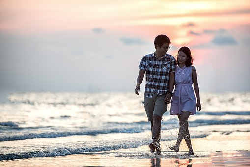 Couple, Holding Hands, Love, Beach