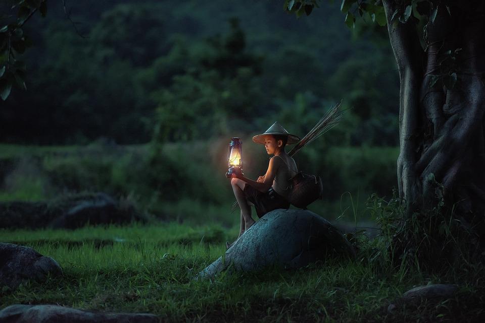 Boy, Sitting, Lantern, Outdoors, Asia, Vietnam, Dawn