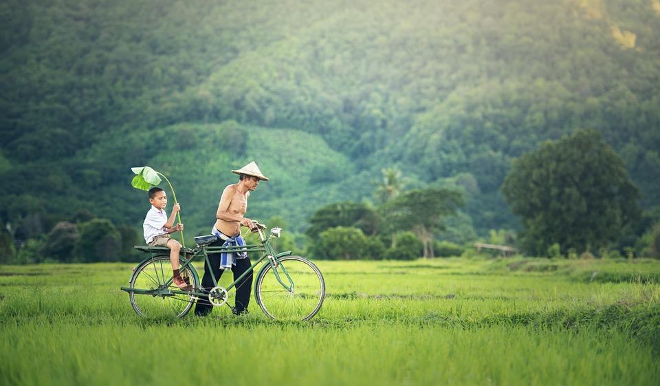 Vélo, Cambodge, L'Extérieur, Myanmar, Birmanie, Famille
