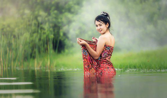 Bathtub, Bare, Young, Beauliful, River