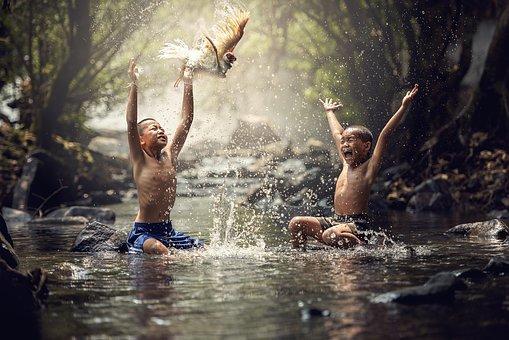 Children, River, Birds, Splash, Water