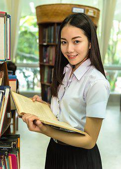 Woman, Library, Students, Study Of