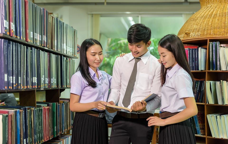 Jeune, Bibliothèque, Étude De, Camarade De Classe