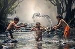 dzieci, rzeka, wody
