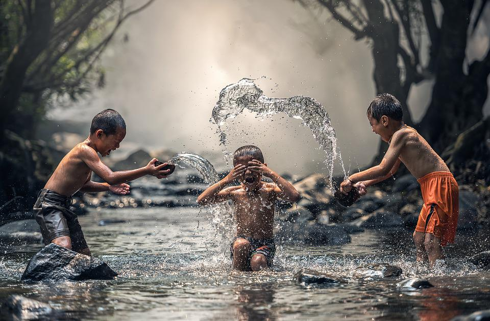 Children, River, Bathing, Bathe, Boys, Kids, Asian