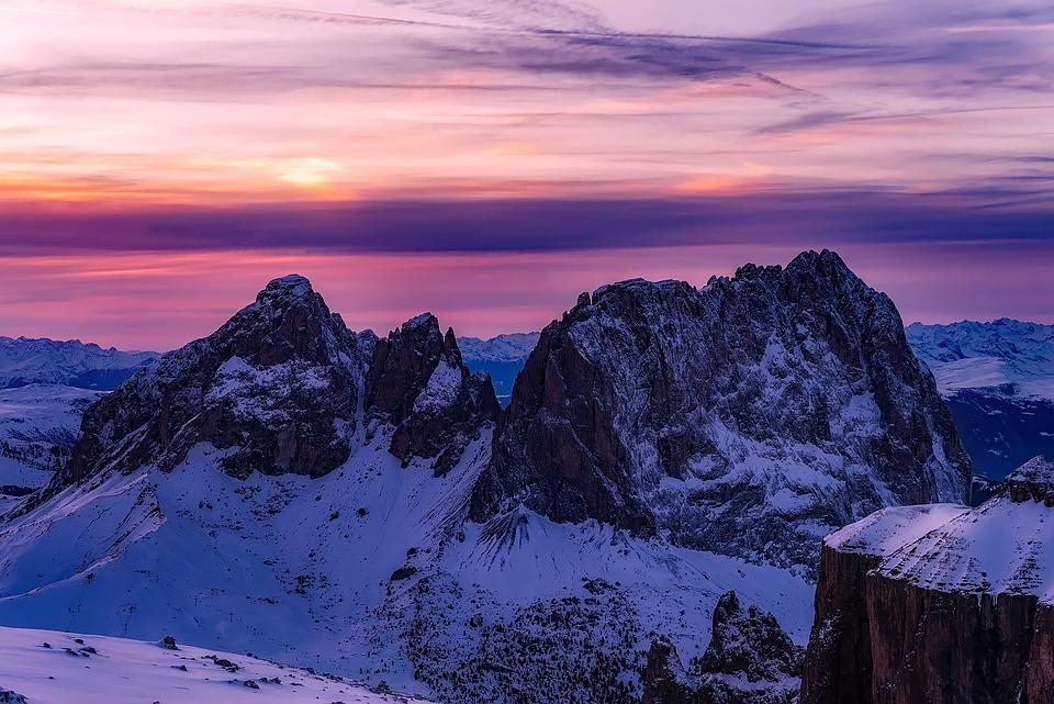 Dolomiti, Italia, Panorama, Scenico, Montagne, Neve