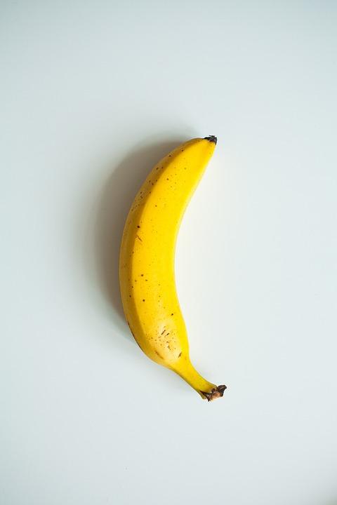 バナナ, 黄色, 白背景