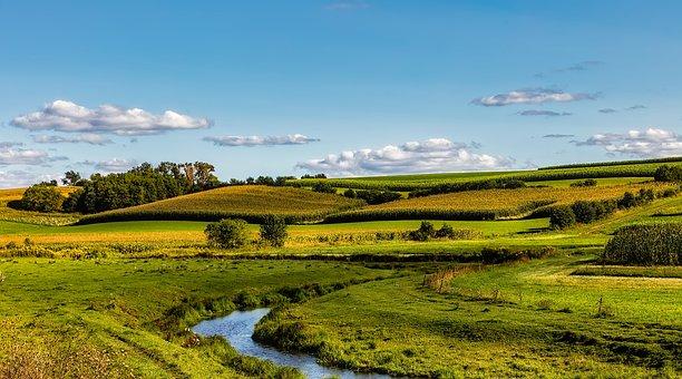 Wisconsin, Panorama, Fields, Meadow, Sky