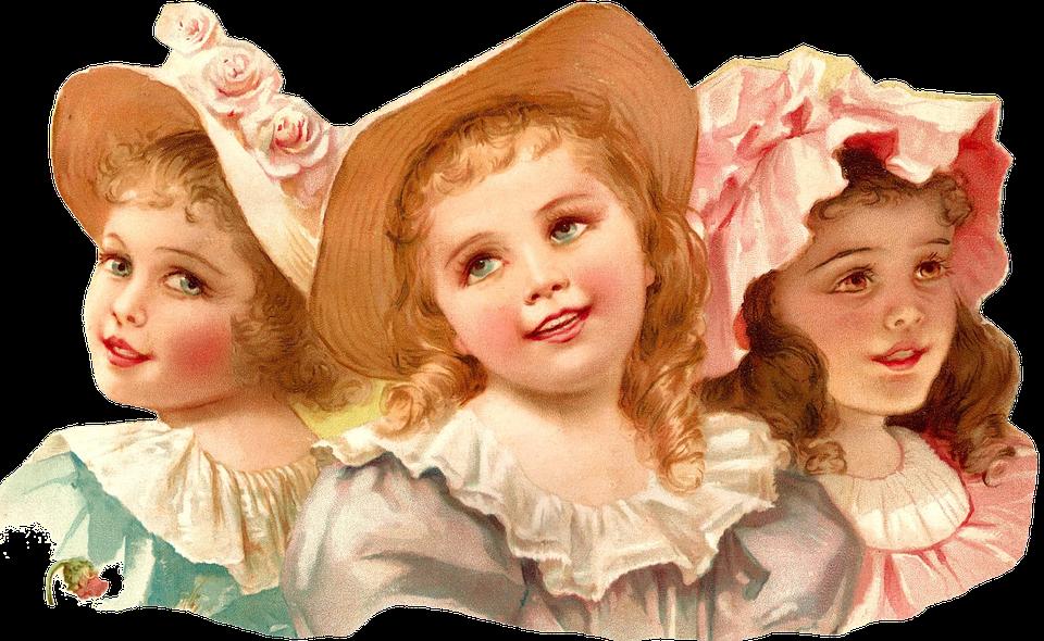 Meninas, Crianças, Garotas, Adolescente, Chapéu, Beleza