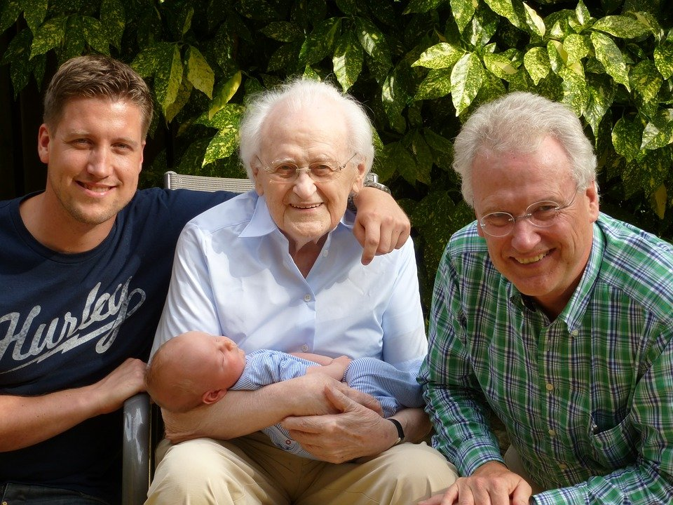 Family, Generations, Great-Grandparents, Son, Father