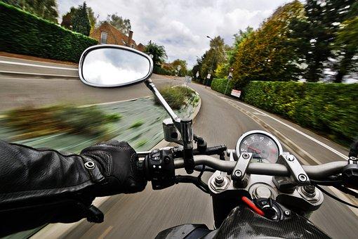 Moto, Route, Vitesse, Rétroviseur, Moto