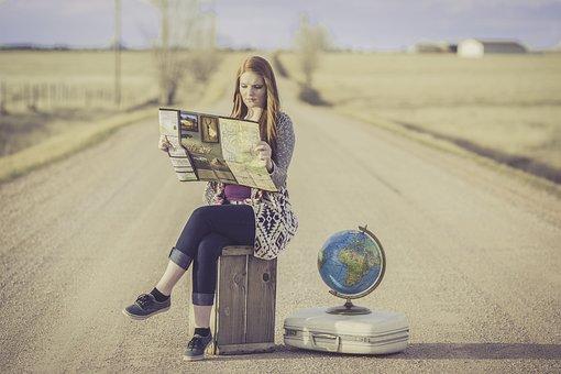全球猪蹄, 旅客, 全球, 地图, 旅程, 规划, 等待, 女性, 女子, 世界
