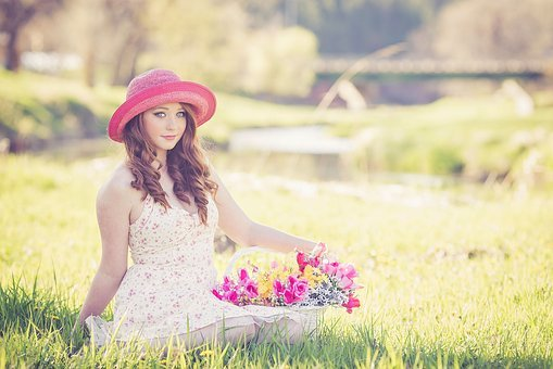 Flowers Spring Pink Hat Redhead Beautiful