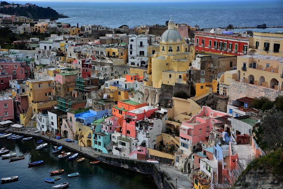 Views, Houses, Sea, Colors, Procida