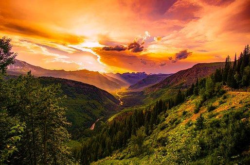 Montana, Sunset, Dusk, Sky, Clouds