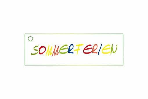 Schild, Anhänger, Etikett, Sommerferien
