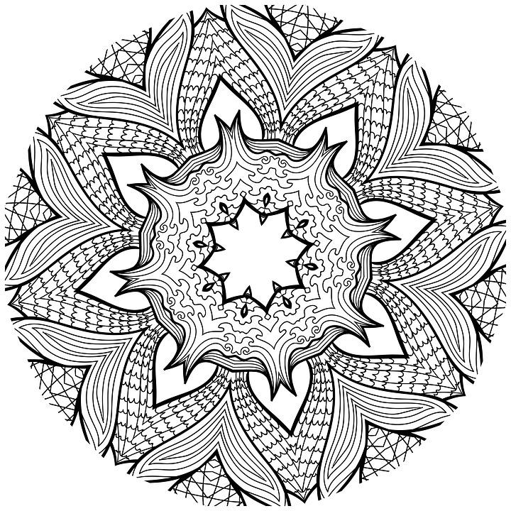 Colour Line Art Design : Free illustration mandala line art black and white