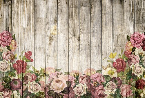 Wooden Wall, Roses, Background, Vintage
