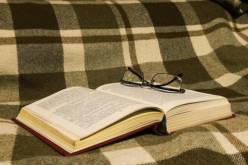 Book, Literature, Glasses, Plaid