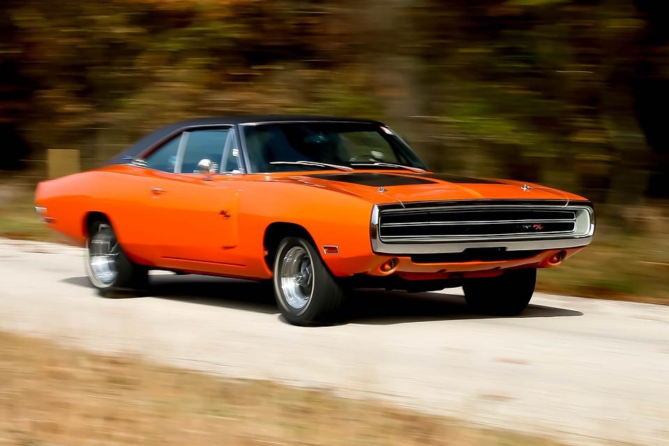 charger car orange dodge