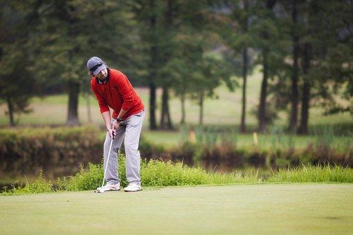 ゴルフ, 自然, スポーツ, 男, 再生, ゲーム, パッティング