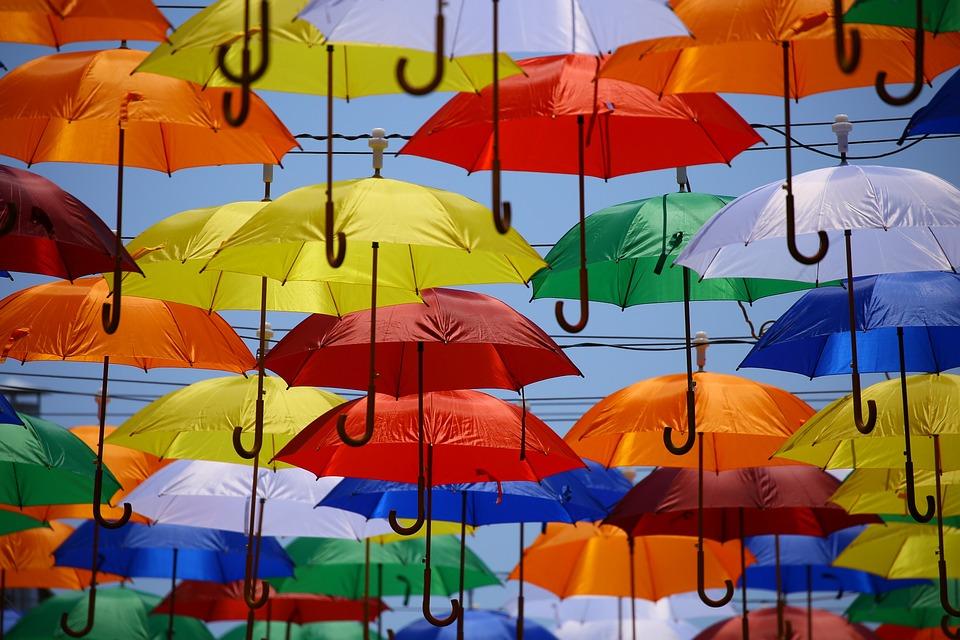 Зонты, Красочные, Искусство, Зонтики, Красочные Зонтики