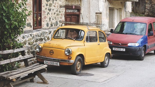 Bench, Cars, Classic, Old, Vintage