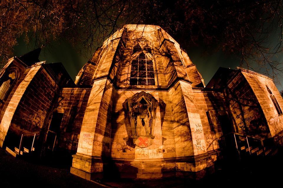 教堂, 德国, 柏林, 拱, 夜, 冬天, 黑暗图片